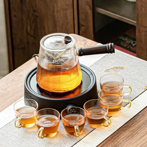 cipaiming teaset 瓷牌茗茶具 竖纹蒸煮茶壶小型电陶炉煮茶器耐高温玻璃泡茶壶茶具套装家用茶炉