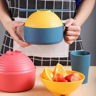 尚思厨 泡面碗带盖饭盒碗单个学生餐具套装大碗汤碗饭碗便当盒一人食碗