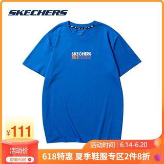 SKECHERS 斯凯奇 Skechers斯凯奇新款个性男女宽松品牌logo时尚圆领针织短袖T恤衫 L121U138