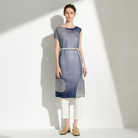 Marisfrolg 玛丝菲尔 条纹拼色短袖修身针织连衣裙女夏