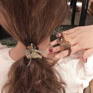 俏丽 3件套 水晶蝴蝶结发圈韩版丸子头马尾头花发饰双圈橡皮筋发绳女