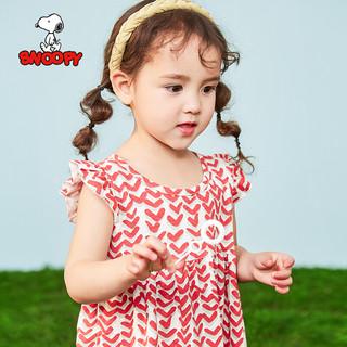 SNOOPY 史努比 童装女童连衣裙夏季新款小女孩裙子儿童公主裙 双色爱心-红色 100CM