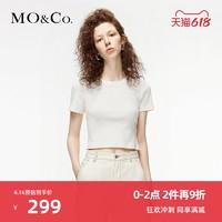三公里生活圈MOCO春夏新品图案章仔短款针织短袖T恤上衣女 摩安珂 MBO1TEE012 本白色2 S/160