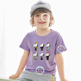 SNOOPY 史努比 2021夏新款中大童纯棉t恤男女童小童短袖打底衫