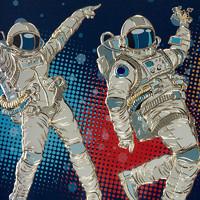 铜师傅 手工錾刻 铜雕画《太空摇滚》45x80cm 铜板玄关画 背景画 壁画