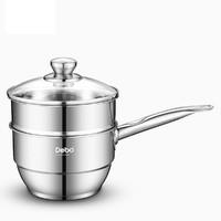 DEBO 德铂 工艺不锈钢奶锅16CM汤锅蒸锅不粘锅煮小奶锅带蒸格