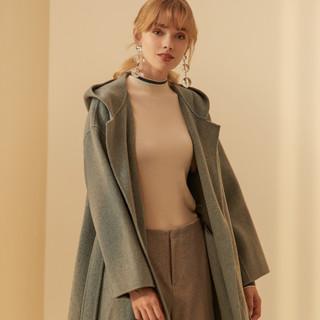 ME&CITY 53355450 女士梭织羊毛羊绒双面呢大衣外套