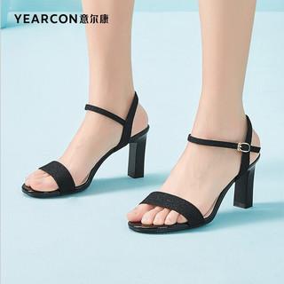 YEARCON 意尔康 女鞋时装休闲凉鞋气质优雅高跟鞋一字带粗跟鞋子女 1352ZL29594W 黑色 37