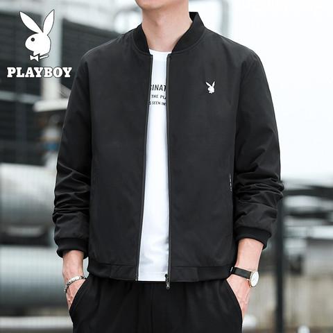 PLAYBOY 花花公子 夹克男修身秋季男士外套休闲韩版棒球服男装上衣 MT-2087 黑色 XL