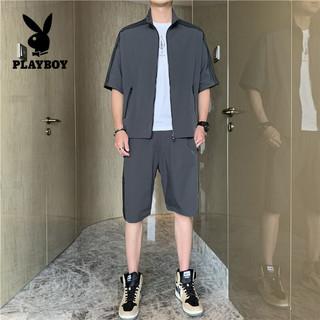 PLAYBOY 花花公子 短袖T恤男2021夏季男士个性休闲开衫两件套潮流时尚休闲套装男 HT-C11 深灰 XL