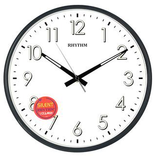 丽声(RHYTHM)增强夜光挂钟客厅表卧室办公室静音挂表创意现代简约时尚钟表欧式圆形数字时钟32cm黑CMG565XA02