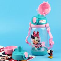 Disney 迪士尼 婴儿童水杯 宝宝吸管杯夏季带锁扣便携学饮杯(两用)520ML 莹粉