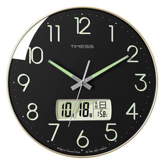 TIMESS Timess 挂钟14英寸静音客厅夜光万年历钟表现代石英钟时尚日历时钟创意挂表 P28-4金边黑色
