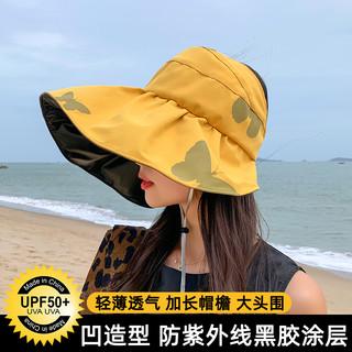 黑胶UV防晒帽女防紫外线遮阳帽骑行空顶太阳帽子女夏季薄款渔夫帽