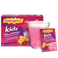美国Emergen-C儿童维生素C泡腾粉30包水果宾治味 含250mgVC+5种B族维生素+100mg钙强免疫补充电解质原装进口