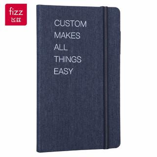 fizz 飞兹 A5记事本牛仔布艺随身笔记本 绑带手账本日记本 商务会议记录本办公用品 FZ331001