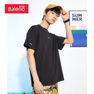 Baleno 班尼路 新疆棉2021夏季T恤字母印花短袖t恤男潮打底半袖体恤 001A黑色 XL