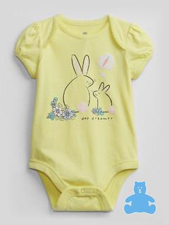 Gap 盖璞 婴儿|布莱纳系列 新生之选 可爱印花短袖连体衣