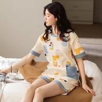朵茜奈美 女生夏季薄款纯棉睡衣 2件套