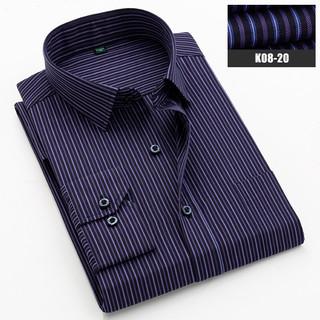 夏季薄款衬衫男长袖修身商务休闲正装中青年上衣男士免烫