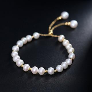 黛米 流淑 淡水珍珠手链 可调节手工款时尚手镯送礼女款
