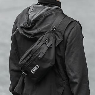 轻骑者 胸包男潮牌工装挎包ins大容量日系斜挎包男士休闲运动骑行腰包机能风单肩背包 0889黑色
