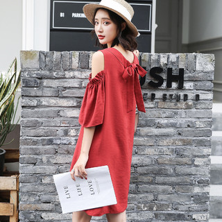 LA CRAWFISH 2021夏装新款 气质红色蝴蝶结露肩雪纺宽松遮肉女士连衣裙