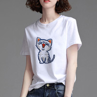 La Chapelle 拉夏贝尔 设计感小众刺绣猫咪减龄显瘦短袖女夏上衣