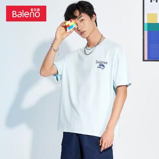 Baleno 班尼路 2021春夏新款潮流黑色印花短袖T恤男宽松休闲半袖上衣体恤