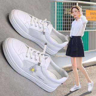 RED DRAGONFLY 红蜻蜓 2021女鞋镂空网面鞋小雏菊小白鞋女休闲鞋