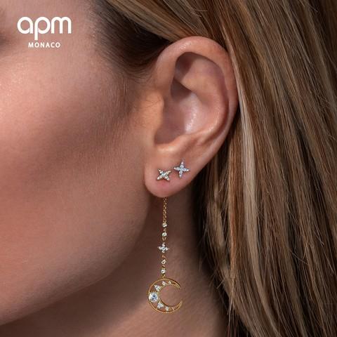 APM Monaco 梦幻星月耳钉女夏季款简约耳饰星星月亮耳环礼物