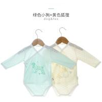 雅婴宝 婴儿三角哈衣 绿色小狗+黄色狐狸(竹纤维) 52/40