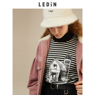 LEDIN 乐町 2020秋季新款主题纹样条纹宽松卫衣C1BFA4201