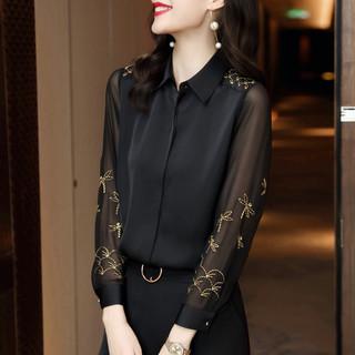 EVE 依文 2021春秋新款简约雪纺长袖气质职业衬衫女时尚洋气衬衣上衣女