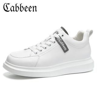 Cabbeen 卡宾 男鞋2021春夏小白鞋厚底板鞋缓震运动休闲鞋增高鞋子男3203205593 白色 41