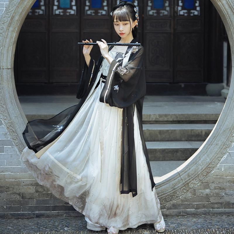 十三余 宋制汉服 墨折扇 女士绣花对襟长衫吊带褶裙 SHF152179