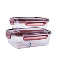 京东PLUS会员、PLUS会员:TAFUCO 泰福高 耐热玻璃饭盒 无隔 0.64L+两隔 1.04L