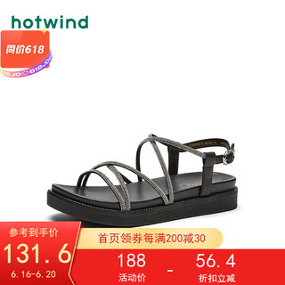 hotwind 热风 凉鞋女2021年夏季新款女士时尚平底一字式扣带运动休闲凉鞋 01黑色 36