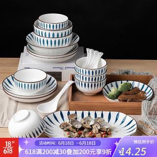 尚行知是 餐具碗碟套装网红景德镇陶瓷釉下彩餐具创意日式风套装面碗家用陶瓷碗筷