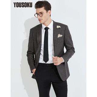 YOUSOKU 格纹单西装男外套商务休闲英伦绅士焦糖色 YOUSOKU 窗形格咖色YO1900301-7 XL