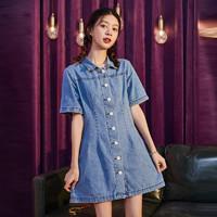 TONLION 唐狮 2021夏新款连衣裙韩版收腰显瘦高腰直筒裙子牛仔裙中长款短袖