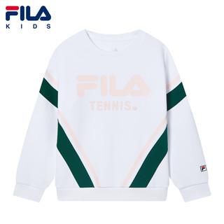 FILA 斐乐 童装儿童套头卫衣2021春季新款女童运动休闲经典长袖上衣 玉石白-WT 140cm