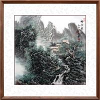 HONGYAN 泓砚 《福秀山水》 85×85cm 手绘国画 沙发背景墙卧室办公室挂画