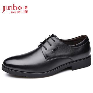 JINHOU 金猴 商务正装系带舒适圆头男士皮鞋 Q25028A 黑色 41码