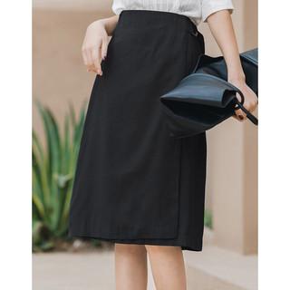 INMAN 茵曼 夏装新款半身中裙女气质休闲干练职业优雅淑女显瘦A字裙
