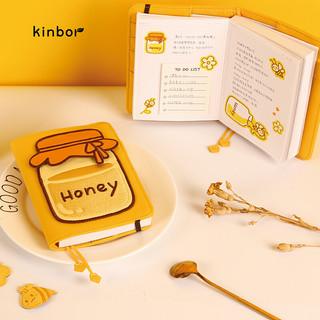 kinbor 手账本笔记本子A6记事本创意文具套装礼盒5件套手帐本-蜂蜜Honey DTB6583