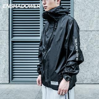ENSHADOWER 隐蔽者 薄款潮牌冲锋衣男斜拉链黑白印花皮肤衣机能外套