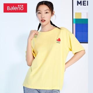 Baleno 班尼路 2021春夏新款新疆棉印花圆领短袖t恤女潮宽松休闲体恤上衣