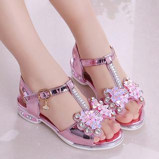 女童凉鞋2021新款韩版夏季时尚公主鞋中大童小女孩儿童高跟鞋软底