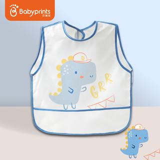 Babyprints 儿童罩衣婴儿吃饭围兜饭兜画画宝宝防溅衣防水透气反穿衣无袖 恐龙幻想 6-36个月